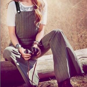 Free People Tweed & Leather Overalls